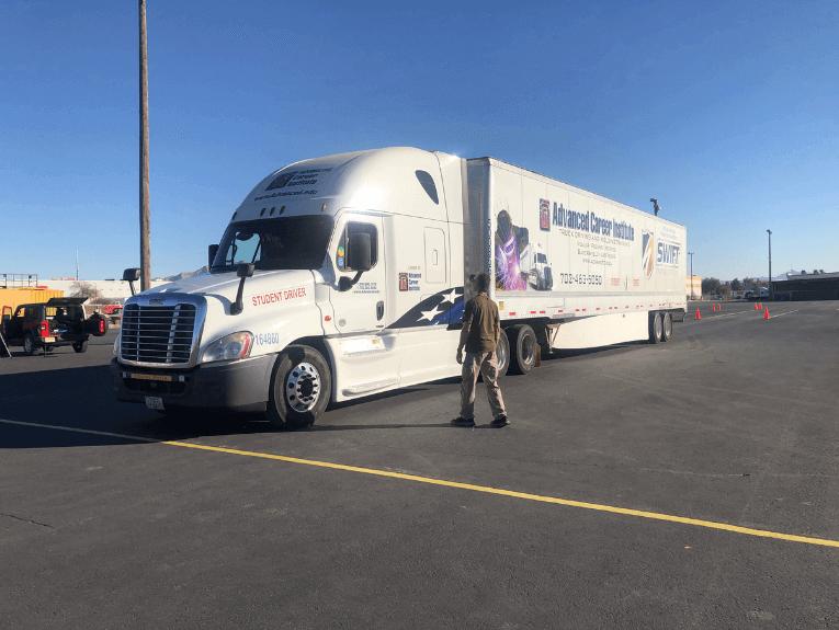 ACI semi truck on cdl training yard in Las Vegas